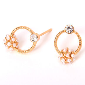 Gold Pearl Cluster Circle Stud Earrings,
