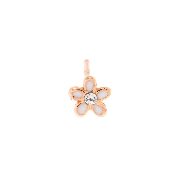 Rose Gold Sterling Silver 22G Flower Nose Stud,