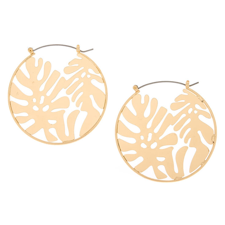 Gold 50MM Palm Leaf Hoop Earrings,