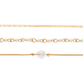 Gold Freshwater Pearl Choker Necklaces - 3 Pack,