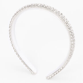 Silver Cushion Cut Rhinestone Multi-Row Headband - White,