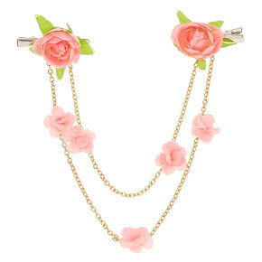 Pink Flower & Gold Chains Hair Swag Clips,
