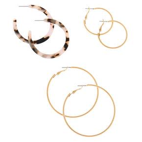 Gold Graduated Tortoiseshell Hoop Earrings - White, 3 Pack,