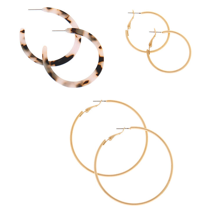 Gold Graduated Tortoiseshell Hoop Earrings - White, 3 Pack,