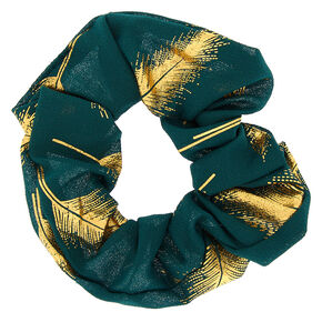 Metallic Leaf Hair Scrunchie - Emerald Green,