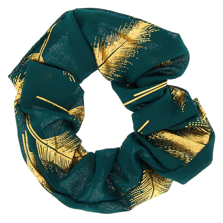 Metallic Leaf Hair Scrunchie - Emerald Green,