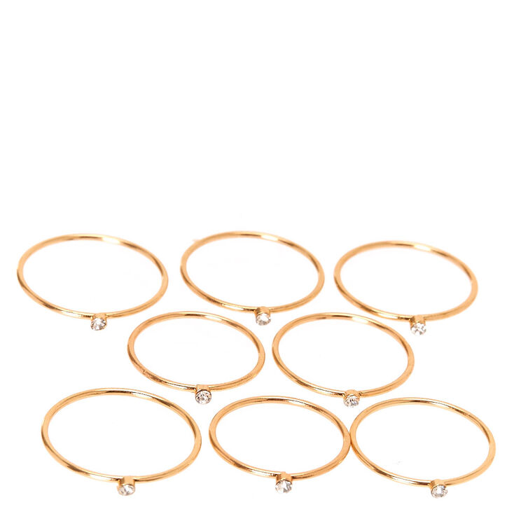 Skinny Gold Tone Crystal Graduated Ring Set,