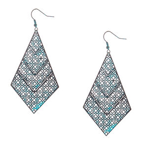 "3"" Rustic Patina Filigree Drop Earrings - Turquoise,"