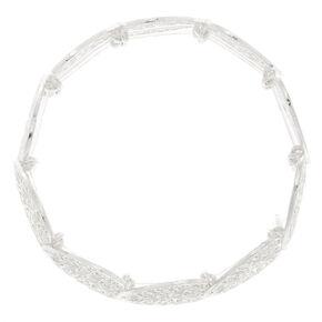 Silver Filigree Heart Stretch Bracelet,