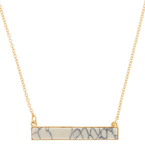 White Marble Bar Pendant Necklace,