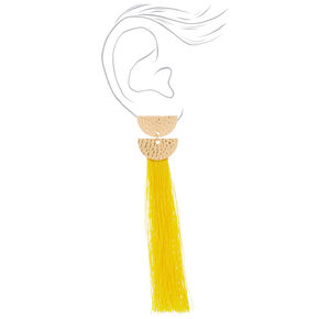 """4"""" Tassel Drop Earrings - Yellow,"""
