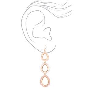 "Gold 2.5"" Beaded Drop Earrings,"