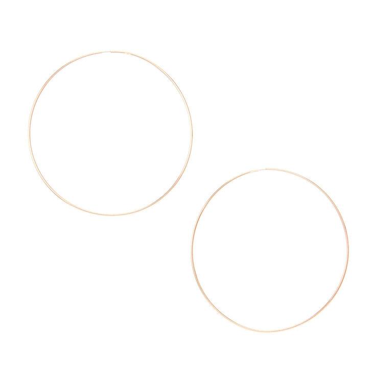 60MM Thin Rose Gold Tone Hoop Earrings,