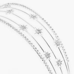 Silver Starburst Five Row Headband,