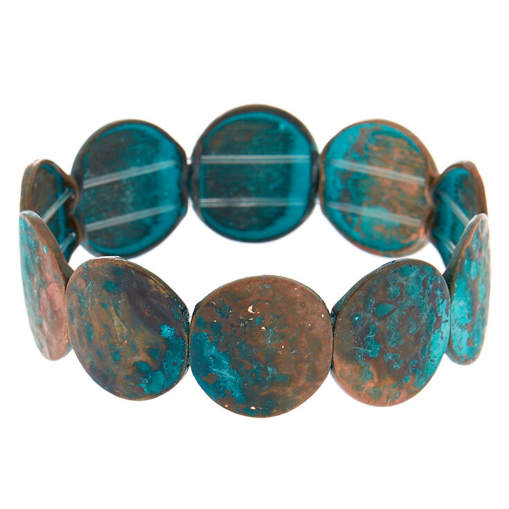 Patina Disk Stretch Bracelet,