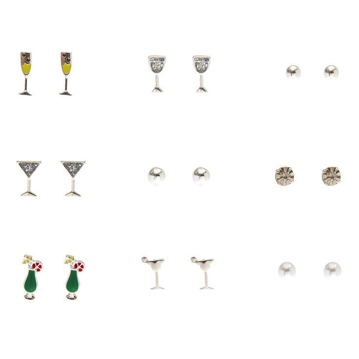 9 Pack Silver Tone Happy Hour Stud Earrings,