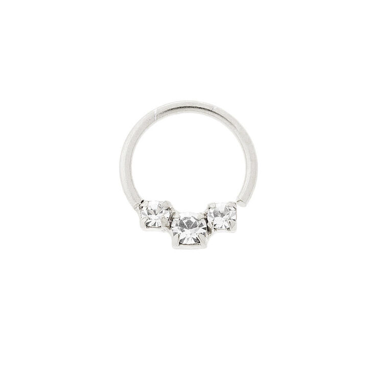 Sterling Silver 20G Triple Embellished Cartilage Hoop Earring,