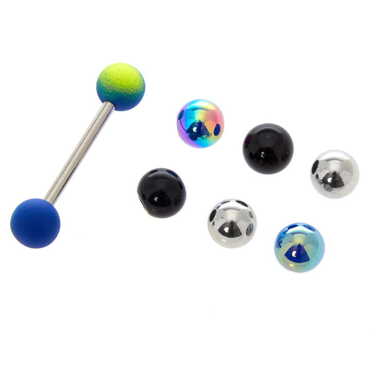 Silver 14G Neon Tongue Ring with Replacement Balls,