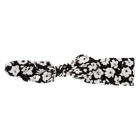 Floral Poppy Knotted Bow Headwrap - Black,