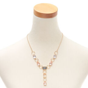 Gold Pastel Shine Y-Neck Statement Necklace,