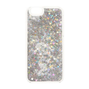 Iridescent Star & Glitter Liquid Fill Phone Case,