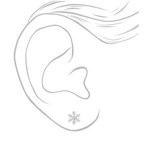 Sterling Silver Crystal Snowflake Stud Earrings - White,