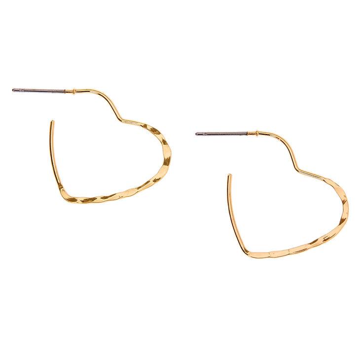 Gold 20MM Textured Heart Hoop Earrings,
