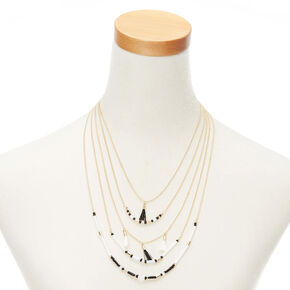 Gold Black & White Beaded Multi Strand Necklace,