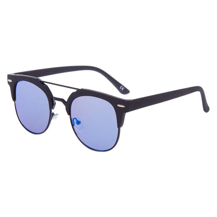 Matte Browline Aviator Sunglasses - Black,