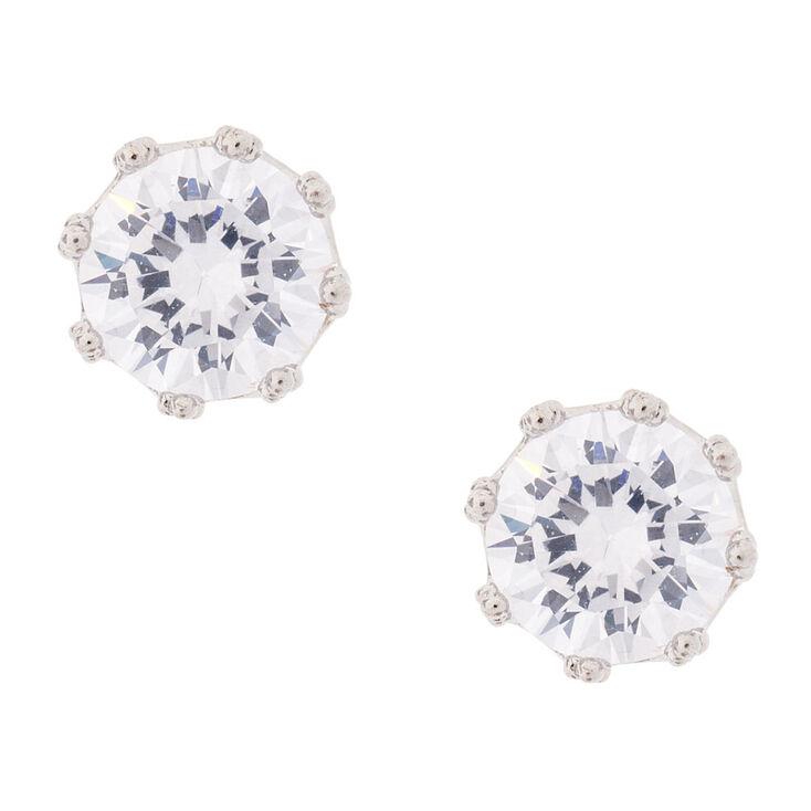 8MM Round Cubic Zirconia Stud Earrings,