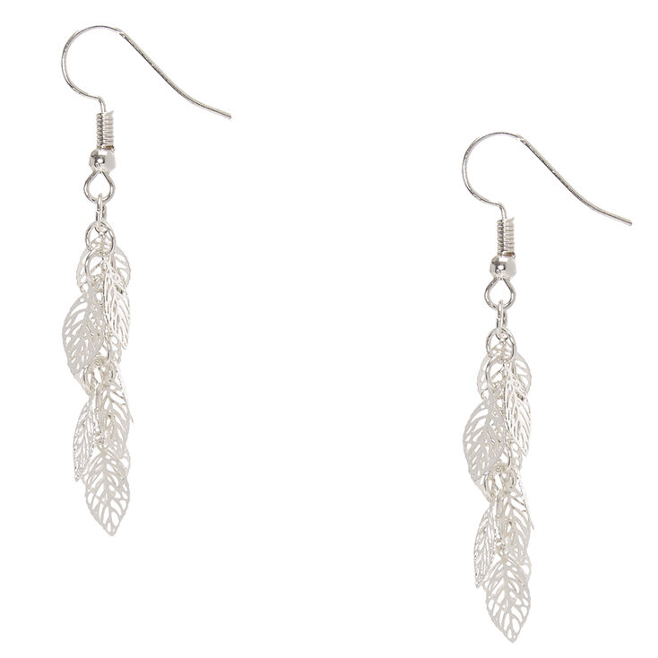 Silver Tone Filigree Leaves Drop Earrings,