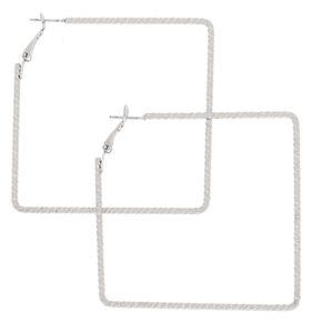 Silver 60MM Textured Square Hoop Earrings,