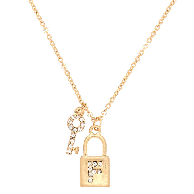 Gold Lock & Key Initial Pendant Necklace - F,