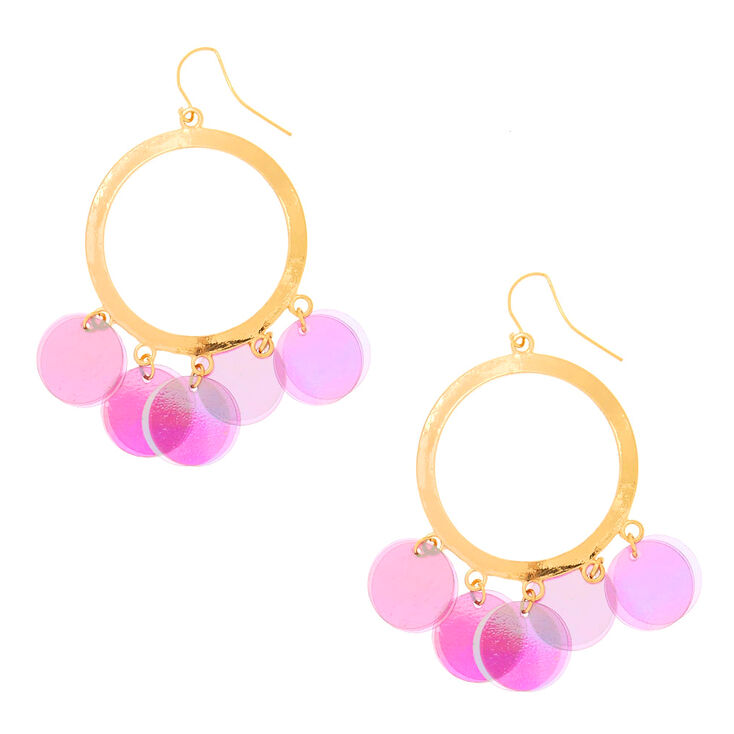 Gold-Tone Circle & Purple Sequins Drop Earrings