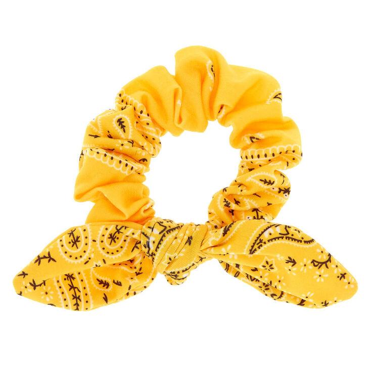 Paisley Print Bandana Bow Hair Scrunchie - Yellow,