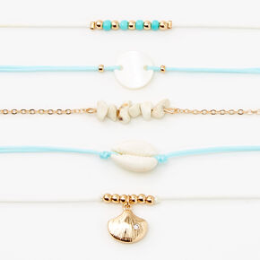 Gold Beaded Seashell Choker Necklaces - Mint, 5 Pack,
