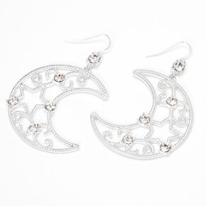 """Silver 3"""" Crescent Moon Star Cut Out Drop Earrings,"""