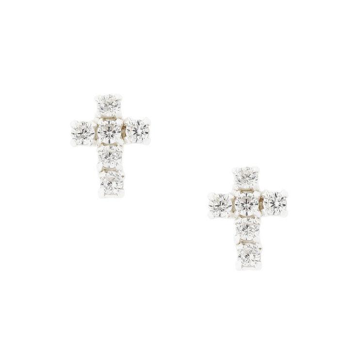 Sterling Silver Cubic Zirconia Crystal Cross Stud Earrings,