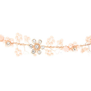 Rose Gold Pearl Flower Crown Headwrap,