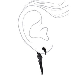 "Black 2.5"" Wings Ear Jacket Earrings,"