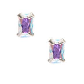 Rectangular Iridescent Cubic Zirconia Earrings,