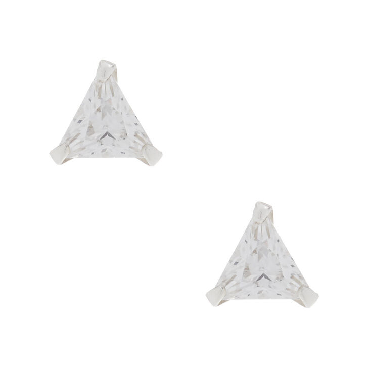 Sterling Silver Cubic Zirconia 5MM Triangle Stud Earrings,