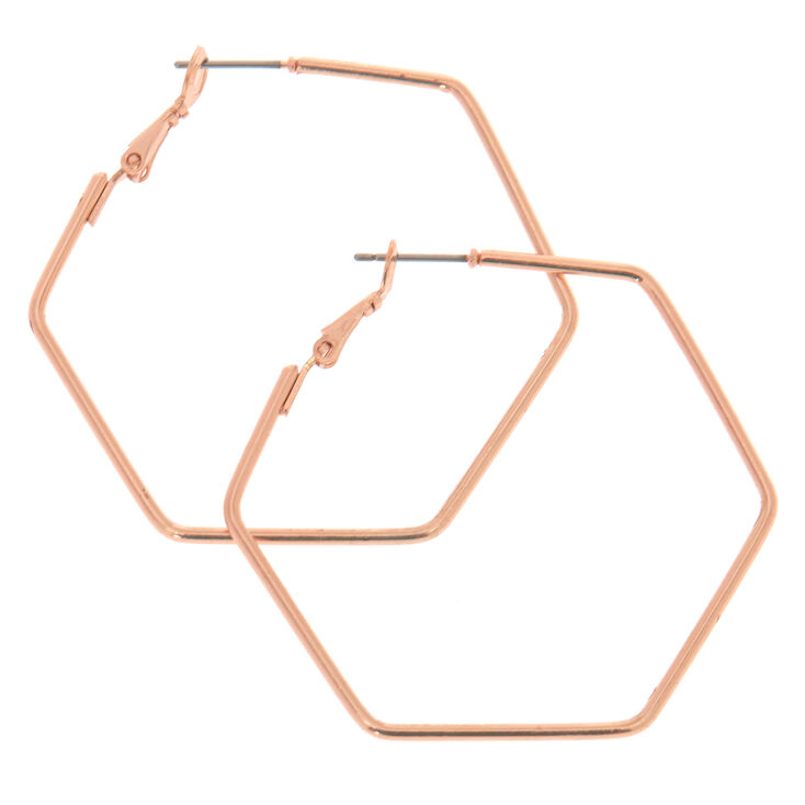 40MM Rose Gold Hexagon Hoop Earrings,
