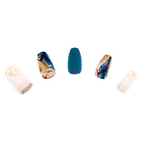 Blue & Gold Marble Faux Nail Set - 24 Pack,