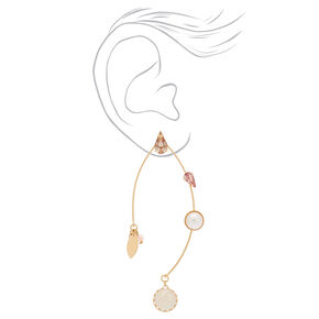 "Gold 2.5"" Opal Stone Drop Earrings - Pink,"