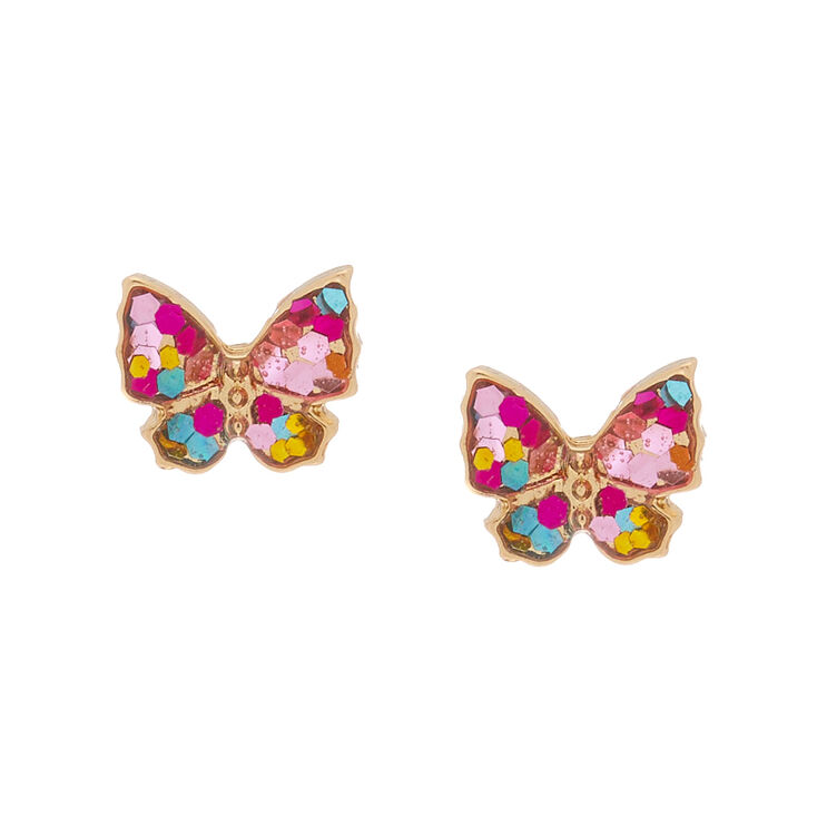 18Kt Gold Plated Stained Glass Butterfly Earrings,