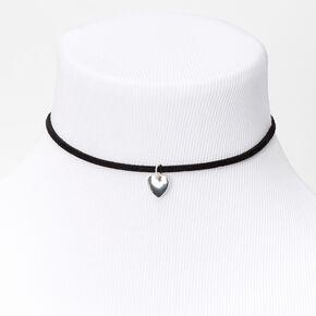 Silver Heart Charm Cord Choker Necklace - Black,