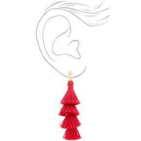 "2.5"" Tiered Tassel Drop Earrings - Red,"