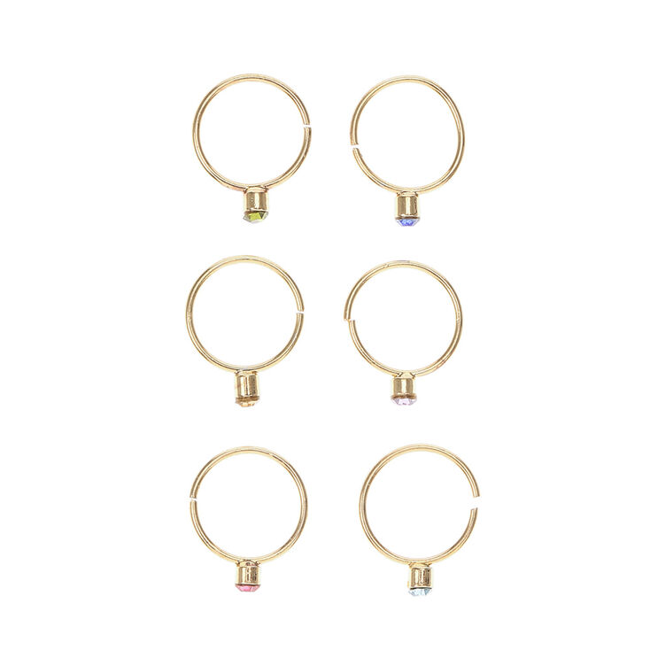 Gold & Colored Gem Nose Hoop Ring Set,
