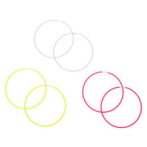 60MM Neon Hoop Earrings - 3 Pack,